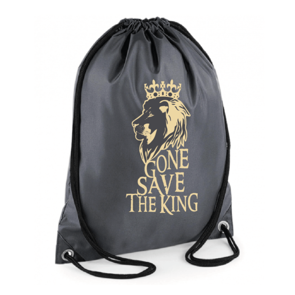 """Sac sport """"gone save the king"""" couleur gris"""