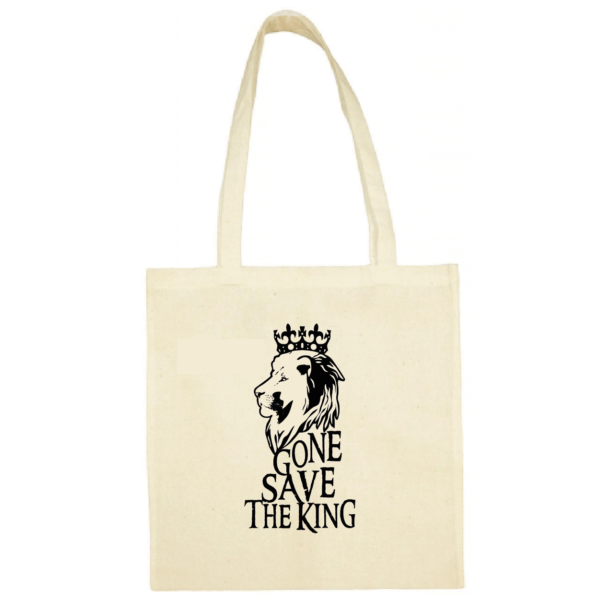 "Tote bag ""gone save the king"" couleur blanc"