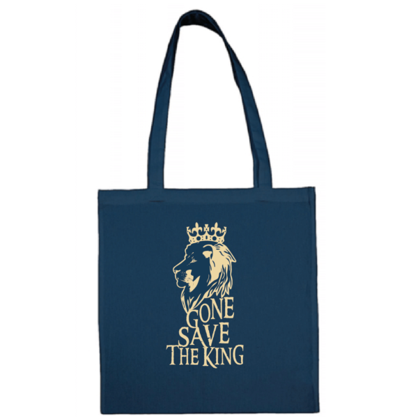 "Tote bag ""gone save the king"" couleur bleu"