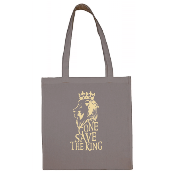 "Tote bag ""gone save the king"" couleur gris"