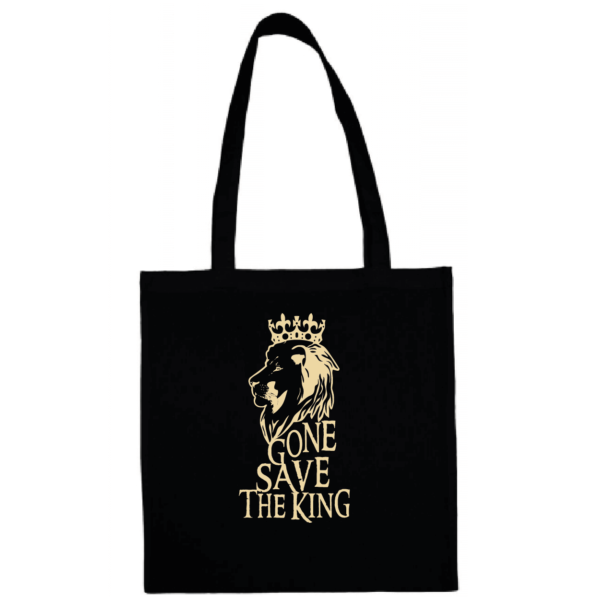 "Tote bag ""gone save the king"" couleur noir"
