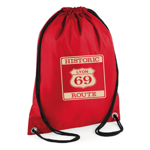 "Sac sport ""historic route 69"" couleur rouge"