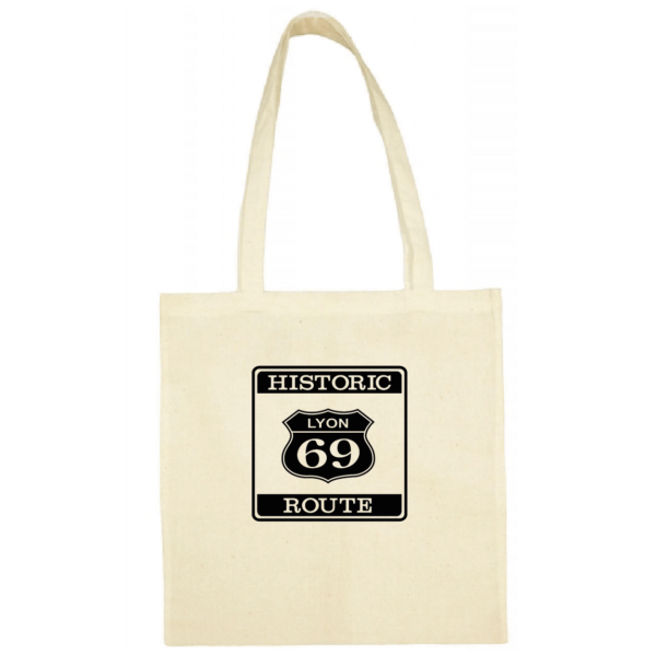 "Tote bag ""historic route 69"" couleur blanc"