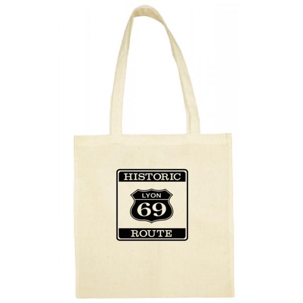"Tote bag ""historic route 69"" couleur blanc"