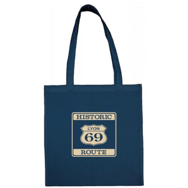 """Tote bag """"historic route 69"""" couleur bleu"""