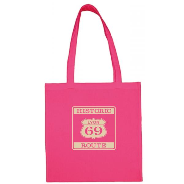 "Tote bag ""historic route 69"" couleur fushia"