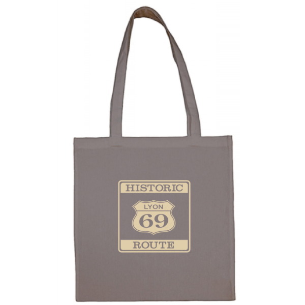 """Tote bag """"historic route 69"""" couleur gris"""