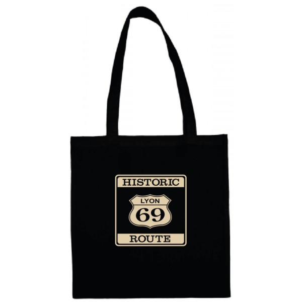"Tote bag ""historic route 69"" couleur noir"