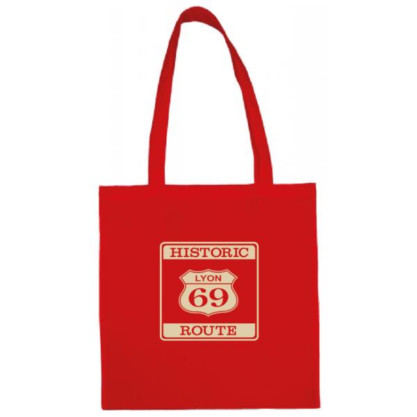 "Tote bag ""historic route 69"" couleur rouge"