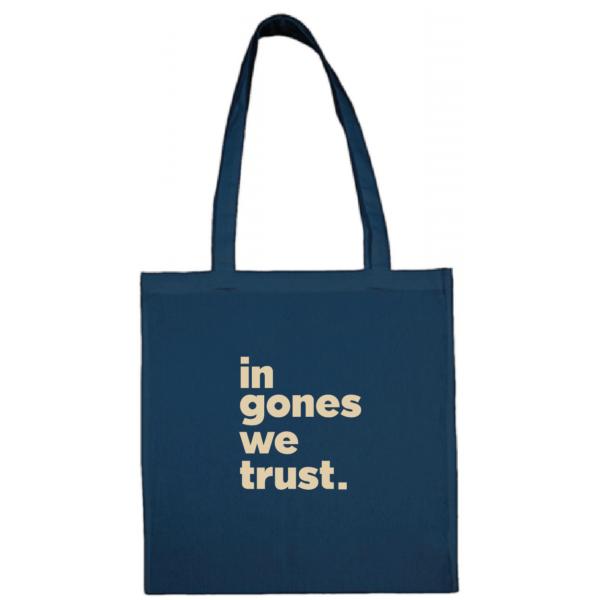 "Tote bag ""in gones we trust"" couleur bleu"