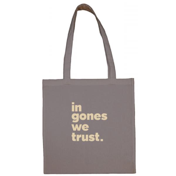 """Tote bag """"in gones we trust"""" couleur gris"""