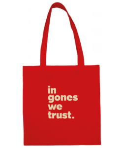 "Tote bag ""in gones we trust"" couleur rouge"