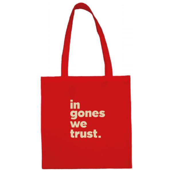 """Tote bag """"in gones we trust"""" couleur rouge"""