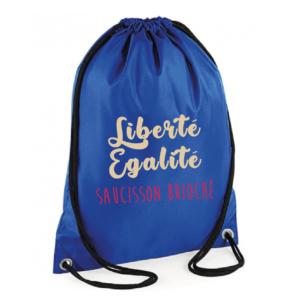 """Sac sport """"Liberté égalité saucisson brioché"""" couleur bleu"""