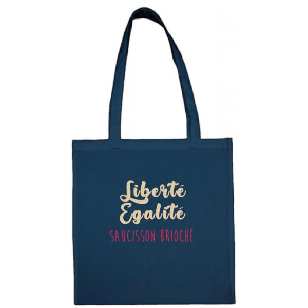 """Tote bag """"Liberté égalité saucisson brioché"""" couleur bleu"""