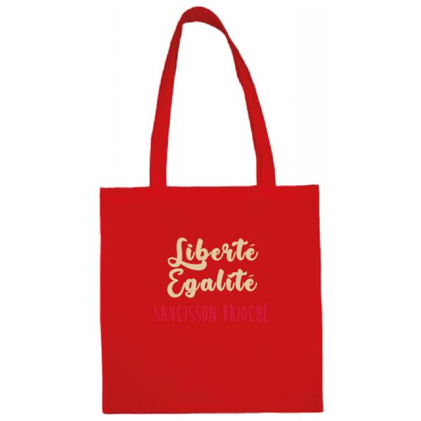 """Tote bag """"Liberté égalité saucisson brioché"""" couleur rouge"""