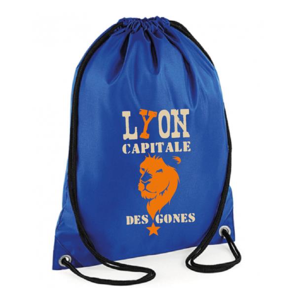 """Sac sport """"Lyon capitale des gones"""" couleur bleu"""