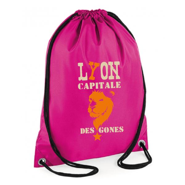"""Sac sport """"Lyon capitale des gones"""" couleur fushia"""
