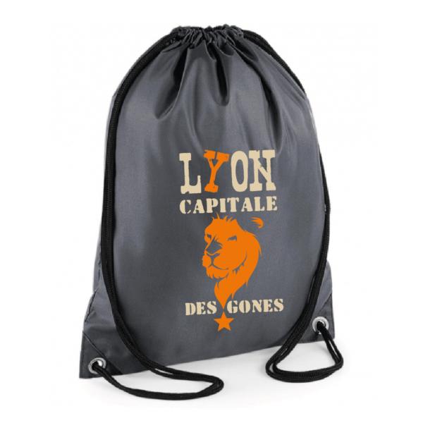 """Sac sport """"Lyon capitale des gones"""" couleur gris"""