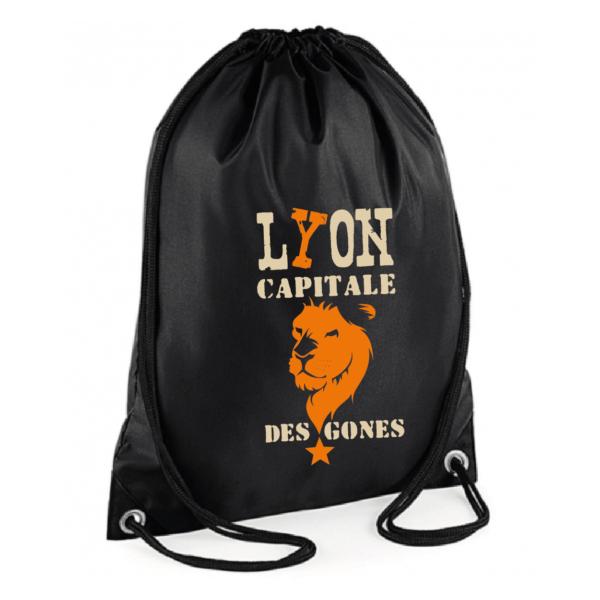 """Sac sport """"Lyon capitale des gones"""" couleur noir"""