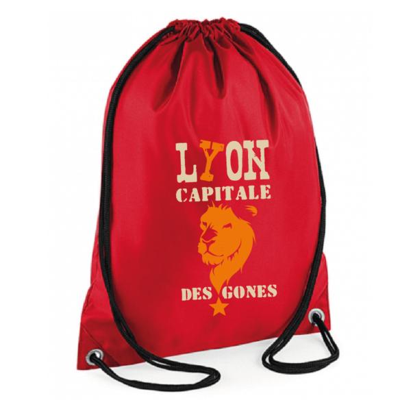 """Sac sport """"Lyon capitale des gones"""" couleur rouge"""