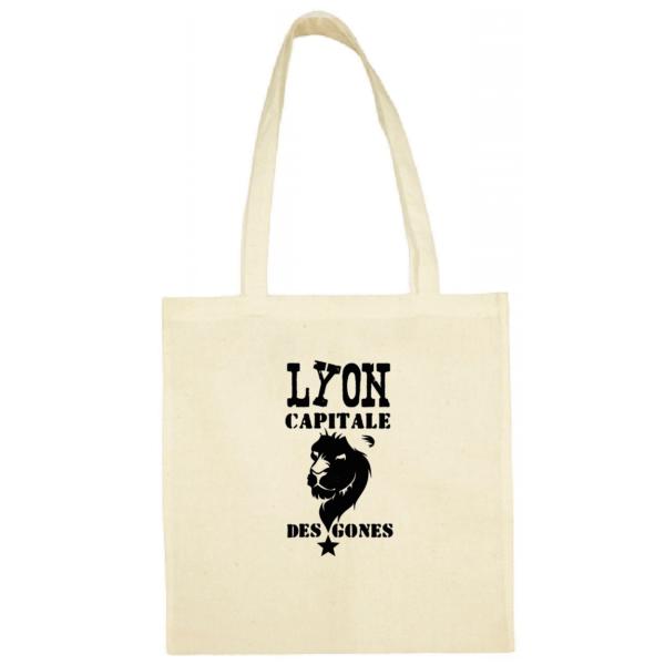 """Tote bag """"Lyon capitale des gones"""" couleur blanc"""