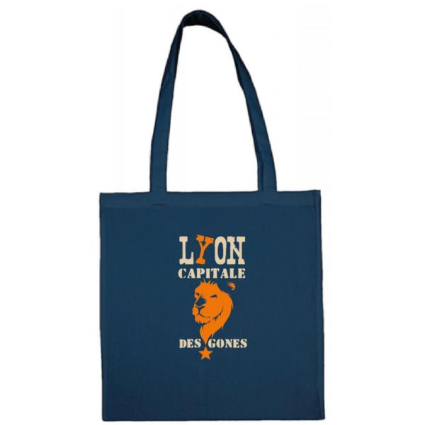"""Tote bag """"Lyon capitale des gones"""" couleur bleu"""