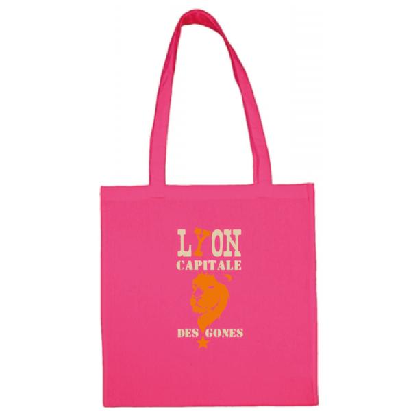 """Tote bag """"Lyon capitale des gones"""" couleur fushia"""