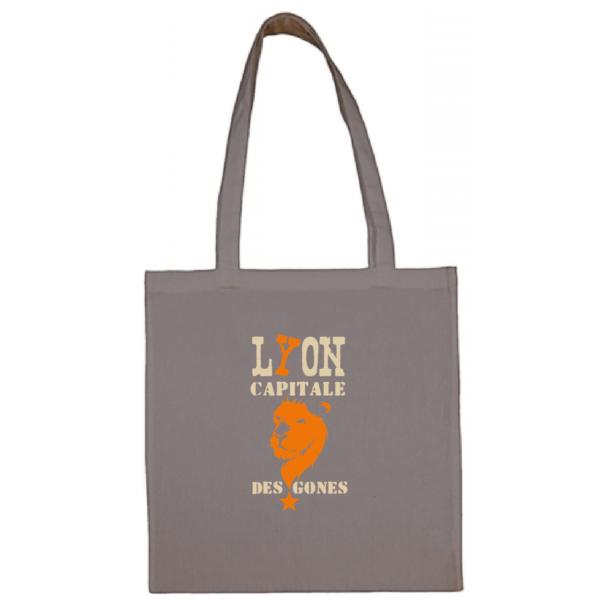 """Tote bag """"Lyon capitale des gones"""" couleur gris"""