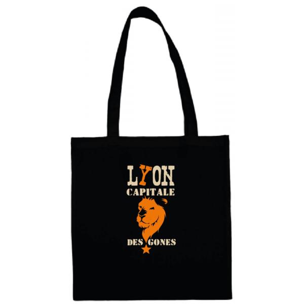 """Tote bag """"Lyon capitale des gones"""" couleur noir"""