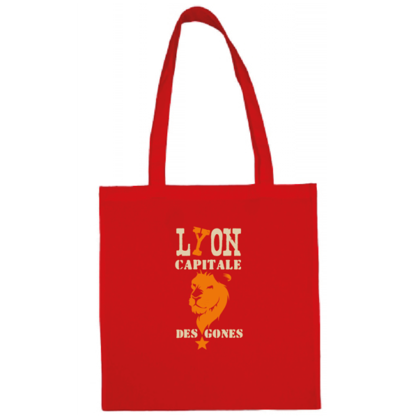 """Tote bag """"Lyon capitale des gones"""" couleur rouge"""