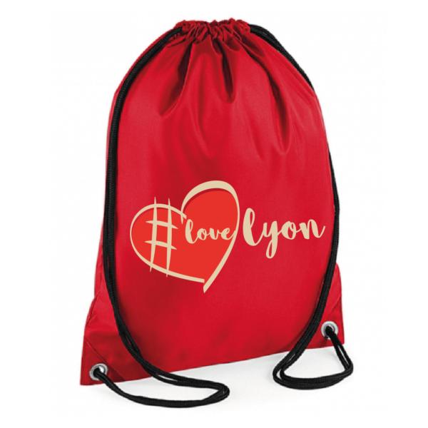 """Sac sport """"love lyon"""" couleur rouge"""