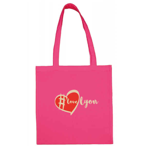 "Tote bag ""love lyon"" couleur fushia"