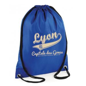 """Sac sport """"lyon capitale des gones vintage"""" couleur bleu"""