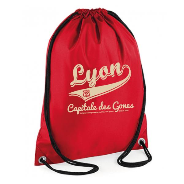 """Sac sport """"lyon capitale des gones vintage"""" couleur rouge"""
