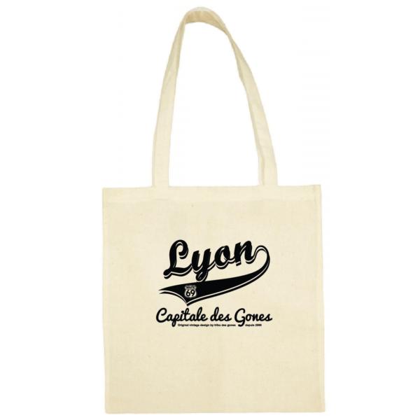 """Tote bag """"lyon capitale des gones vintage"""" couleur blanc"""