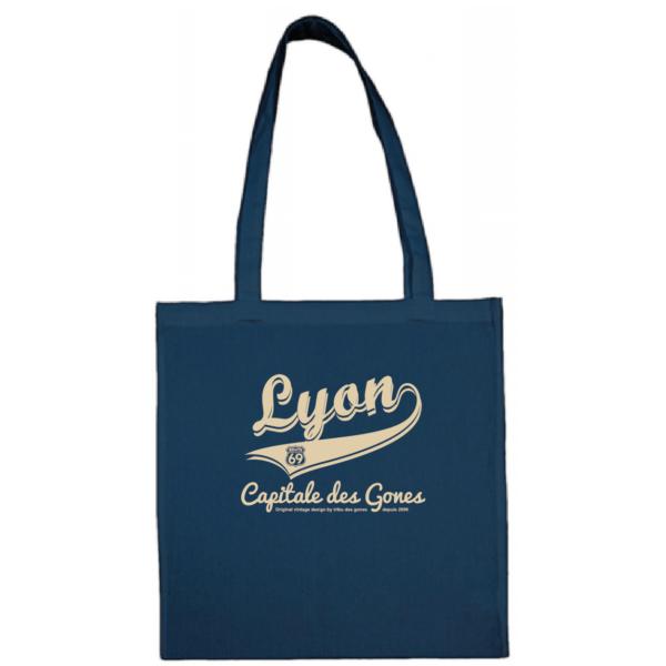 """Tote bag """"lyon capitale des gones vintage"""" couleur bleu"""