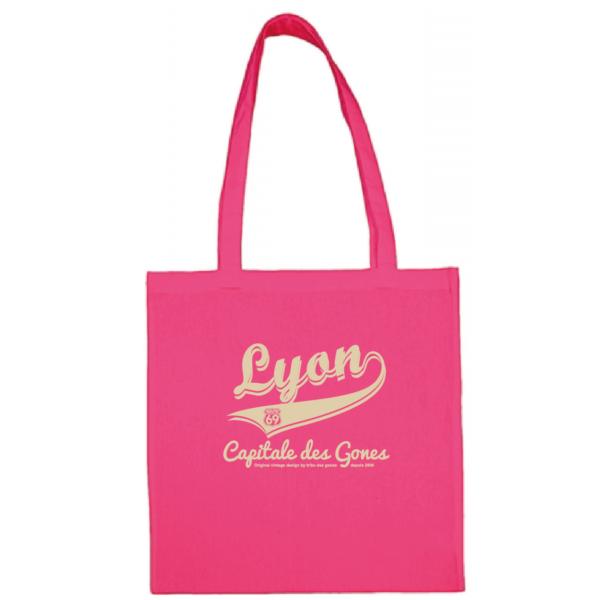 """Tote bag """"lyon capitale des gones vintage"""" couleur fushia"""