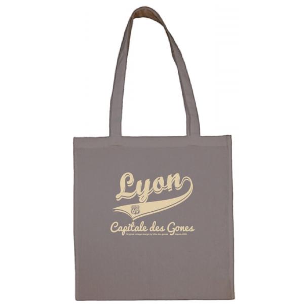 """Tote bag """"lyon capitale des gones vintage"""" couleur gris"""