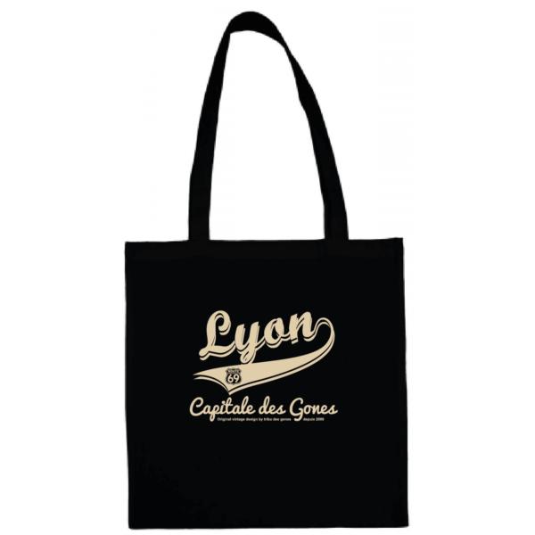 """Tote bag """"lyon capitale des gones vintage"""" couleur noir"""