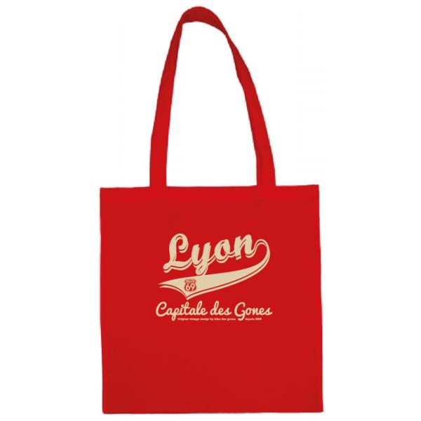 """Tote bag """"lyon capitale des gones vintage"""" couleur rouge"""