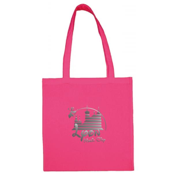 """Tote bag """"lyon magic city"""" couleur fushia"""