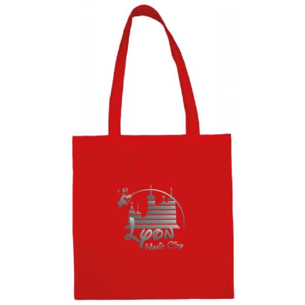 """Tote bag """"lyon magic city"""" couleur rouge"""