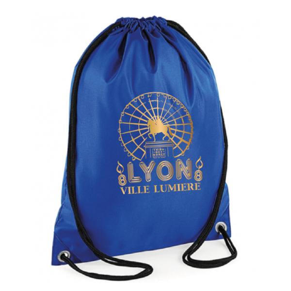 """Sac sport """"Lyon ville lumière"""" couleur bleu"""