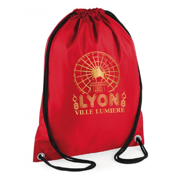 """Sac sport """"Lyon ville lumière"""" couleur rouge"""