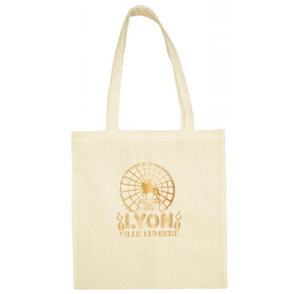 """Tote bag """"Lyon ville lumière"""" couleur blanc"""