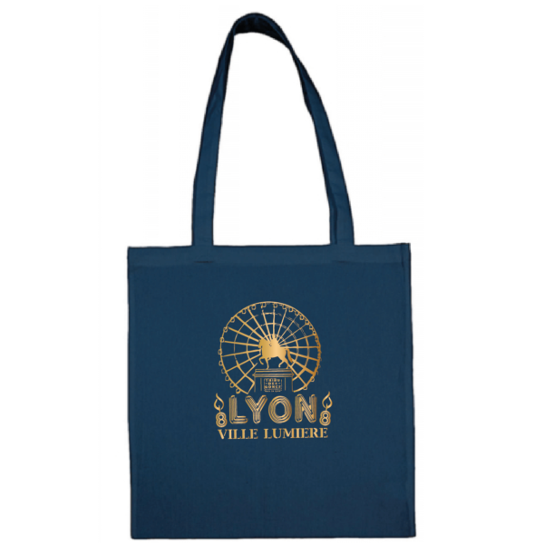 """Tote bag """"Lyon ville lumière"""" couleur bleu"""