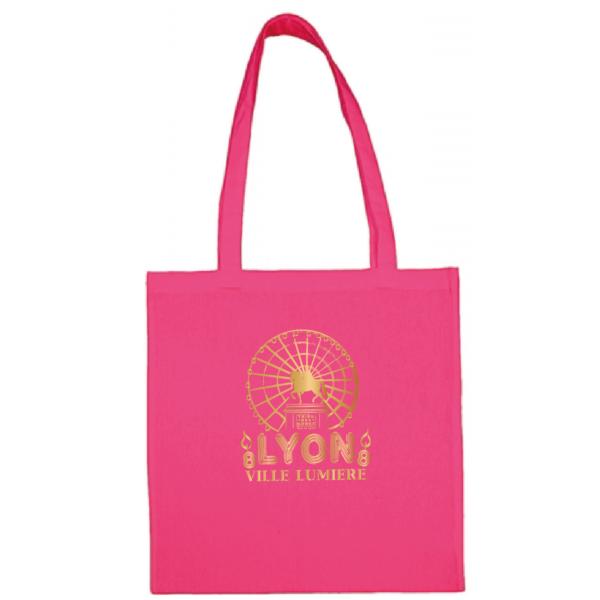 """Tote bag """"Lyon ville lumière"""" couleur fushia"""
