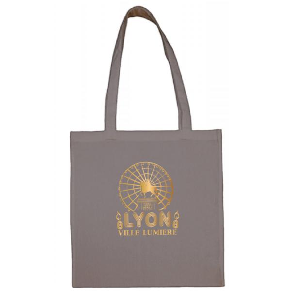 """Tote bag """"Lyon ville lumière"""" couleur gris"""