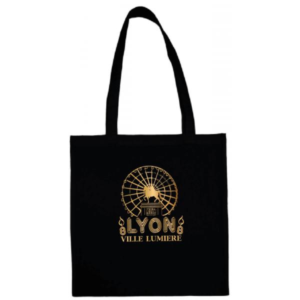 """Tote bag """"Lyon ville lumière"""" couleur noir"""